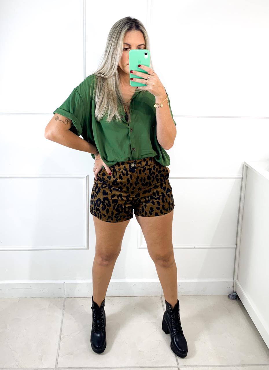 Shorts Cotelê Animal Print