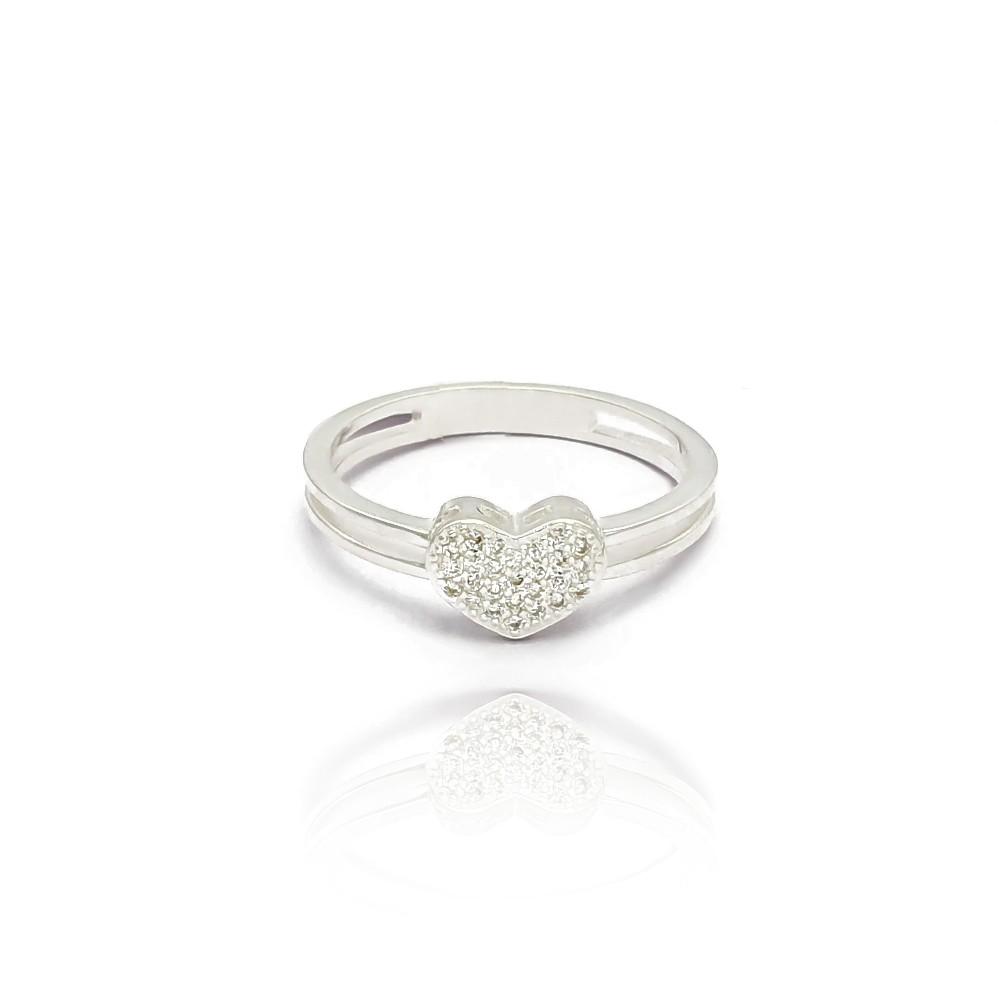 Anel Aro Duplo de Coração em Prata 925 com Micro Zircônias Feminino