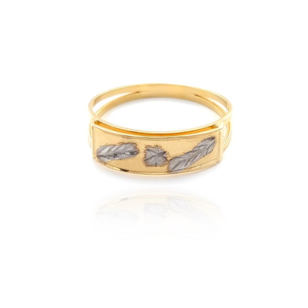 Anel Chapinha 2 Ouros com estrela e folha de trigo frisada em Semijoia Banhado a Ouro - 8010432A
