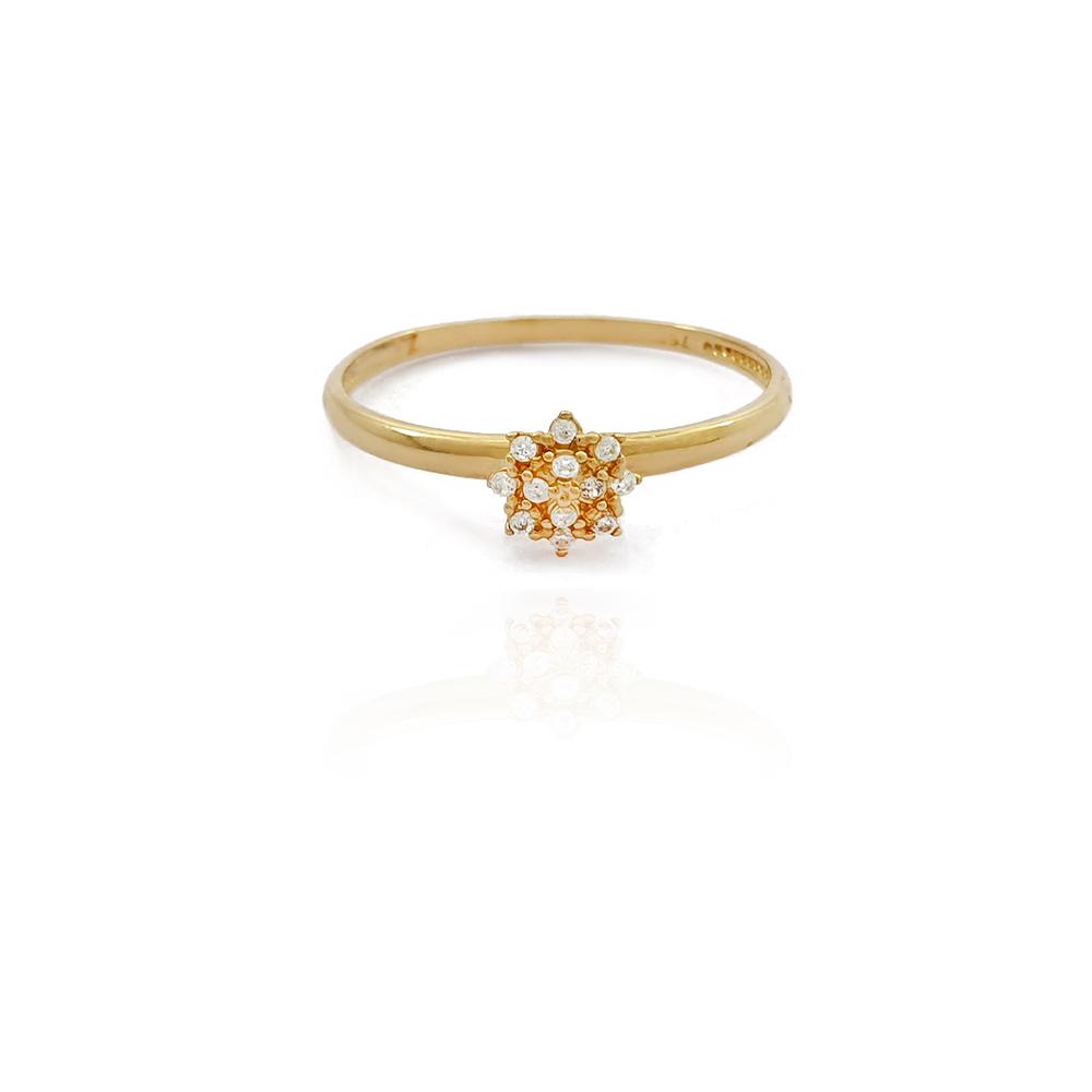 Anel Chuveiro Flor com Zircônias em Ouro 18K - 701015K