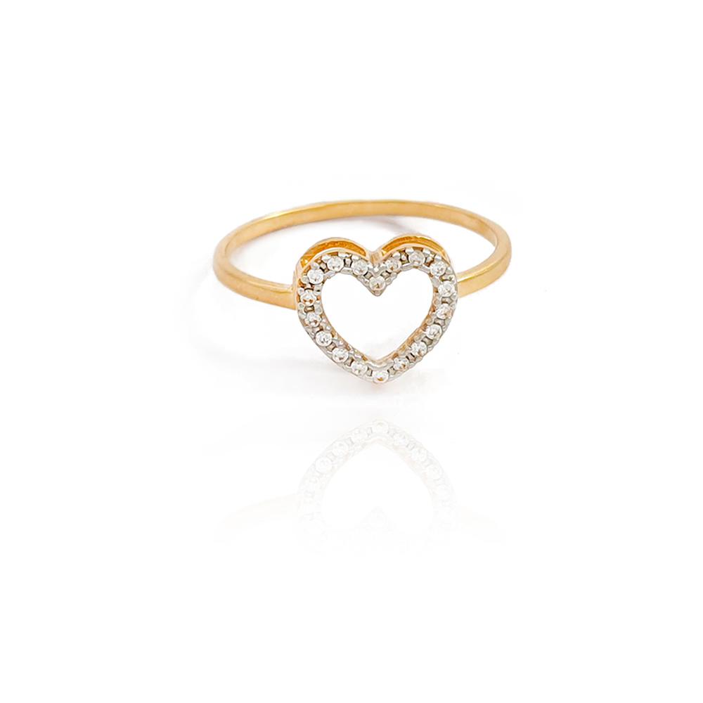 Anel Coração Vazado com Zircônias em Ouro 18K - 701016K