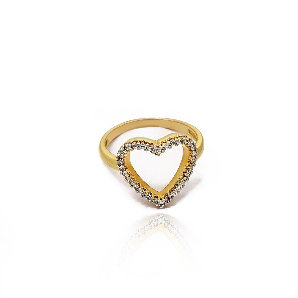 Anel de Coração Vazado Zircônia Cravejado Semijoia - 801026A