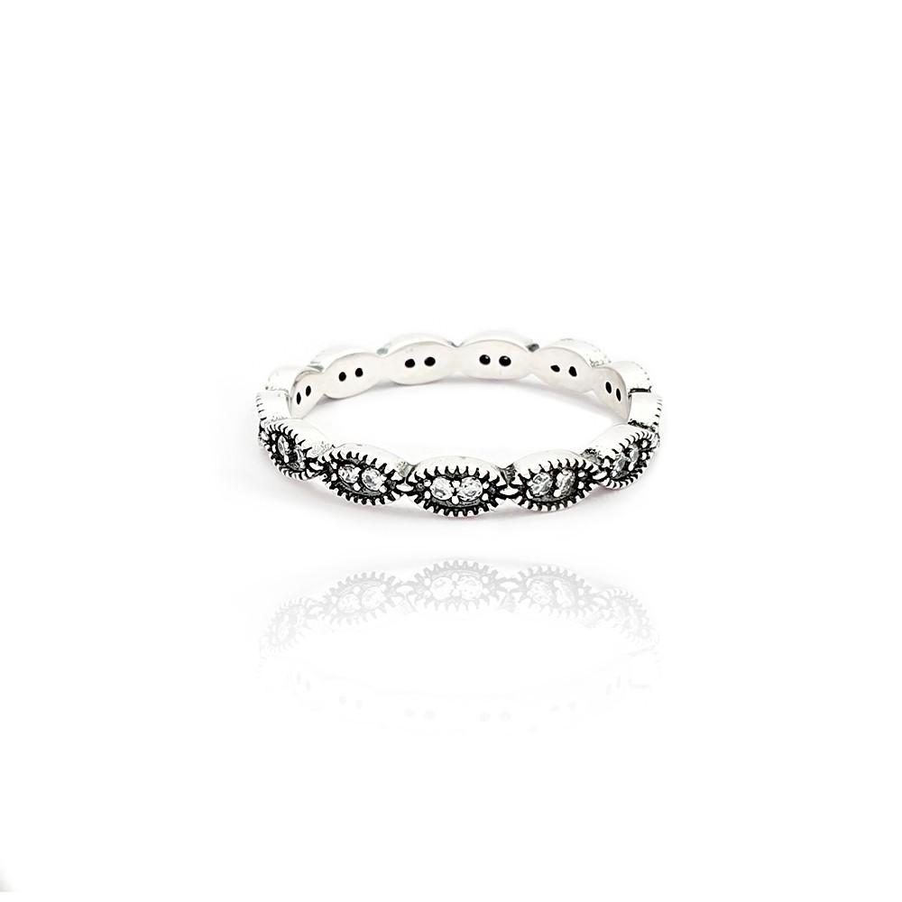Anel em Prata 925 Feminino Trabalhado com 2 Zircônias Brancas - 8010245P