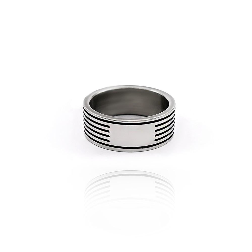 Anel Masculino em Aço Inox com Frisos Negros - 601002AI