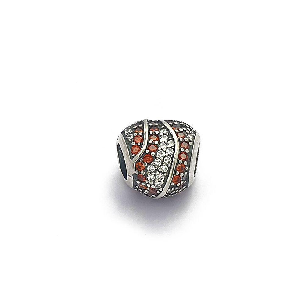 Berloque Coração com Zircônias Vermelhas e Brancas Prata 925 - 403008P
