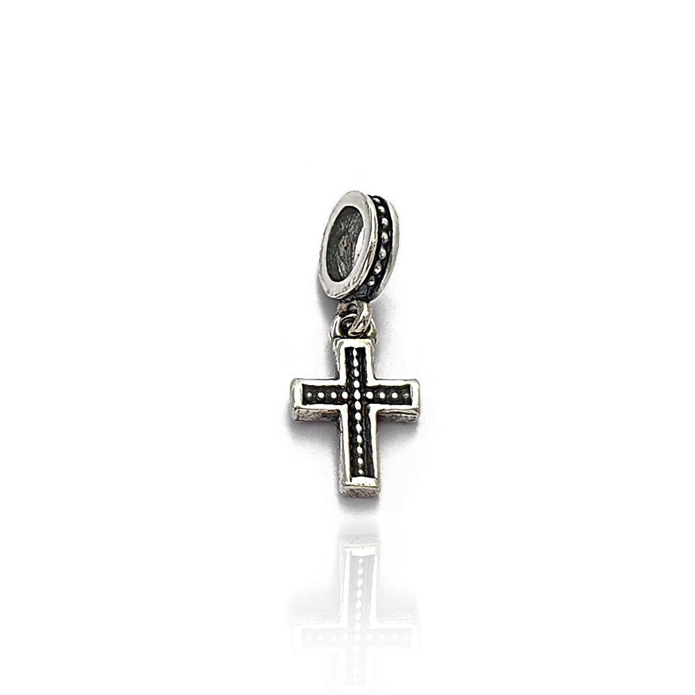 Berloque Crucifixo Trabalhado com Fundo Negro e Bolinhas Prata 925 - 403017P