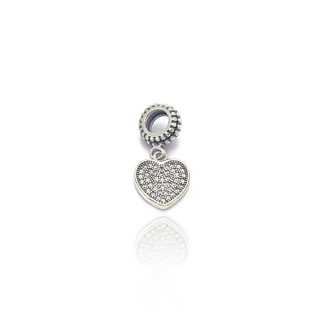 Berloque de Coração Cravejado com Zircônias Brancas Prata 925 - 403012P