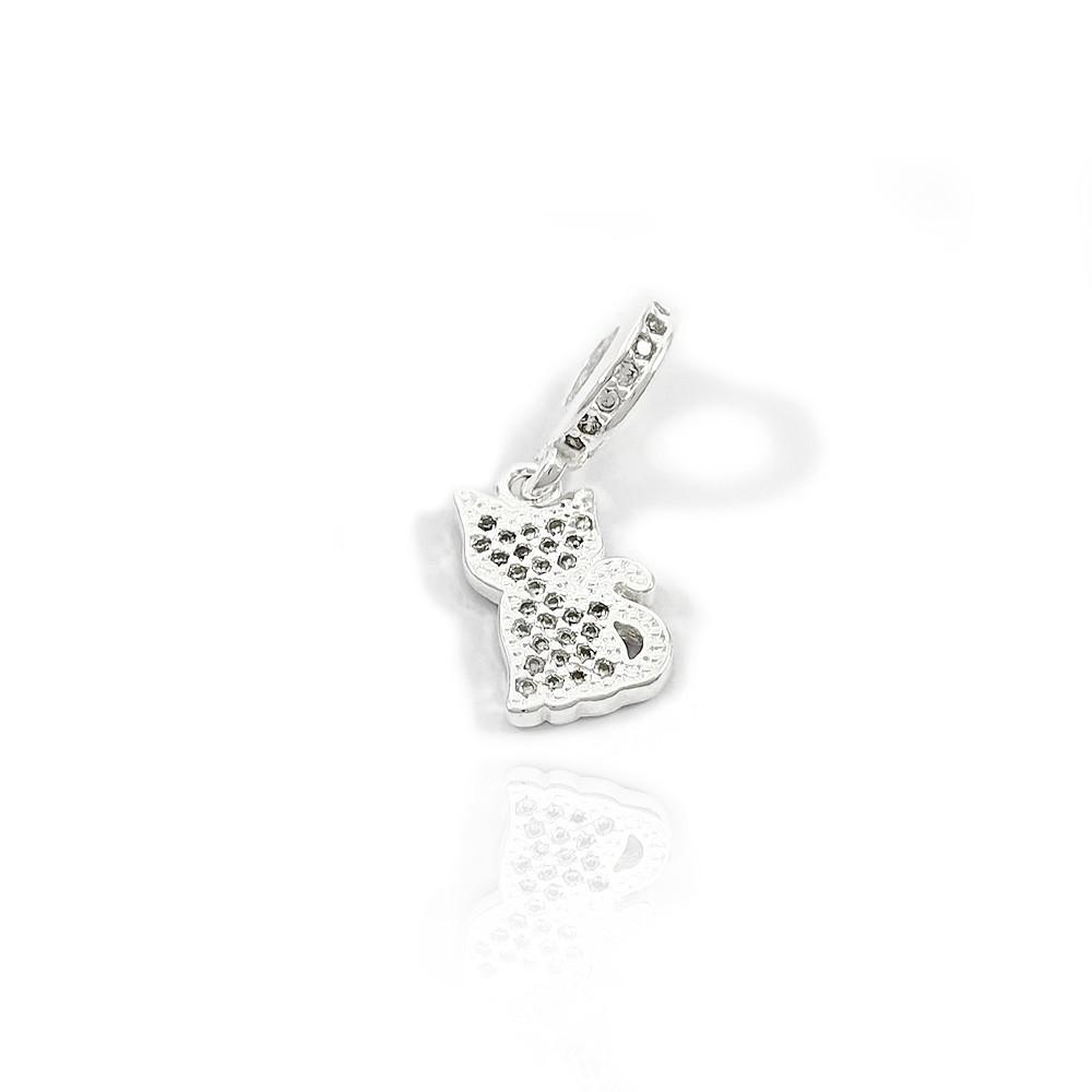 Berloque de Prata 925 Gatinho Sentado com Micro Zircônias - 403026P