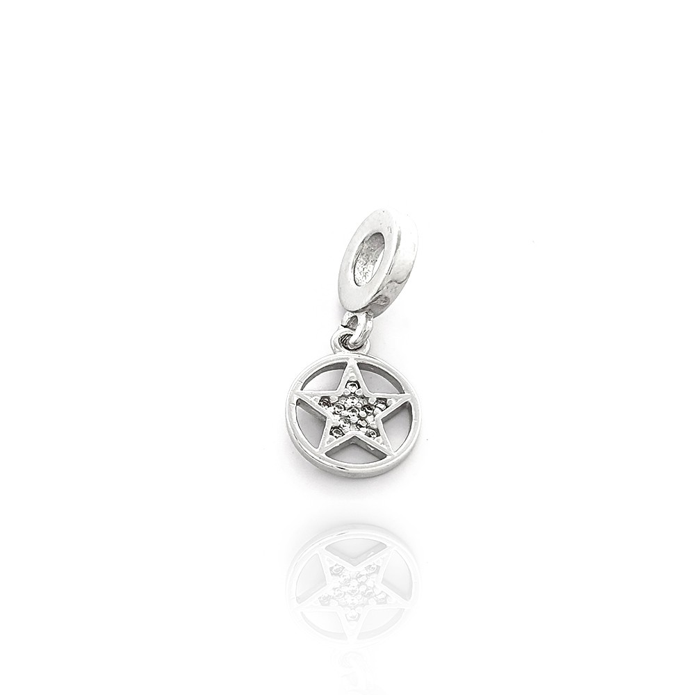 Berloque Estrela de Davi Redondo Prata 925 com Zircônias Brancas - 403025P