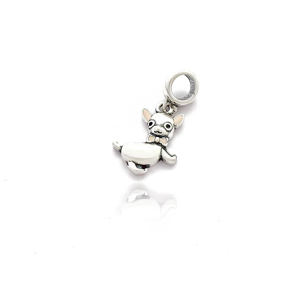 Berloque Gato liso com laço em Prata 925 - 403032P