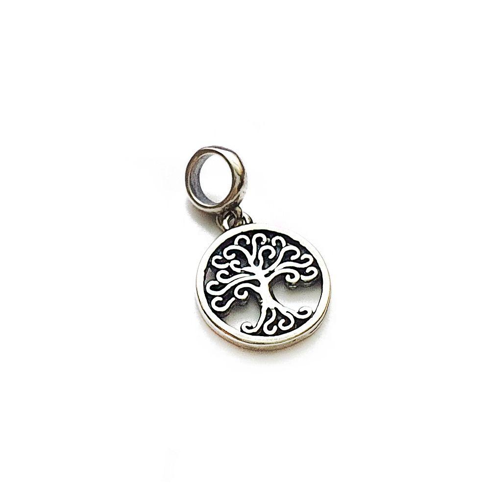 Berloque Medalha Redonda Árvore da Vida Vazado Pendurado - Prata 925