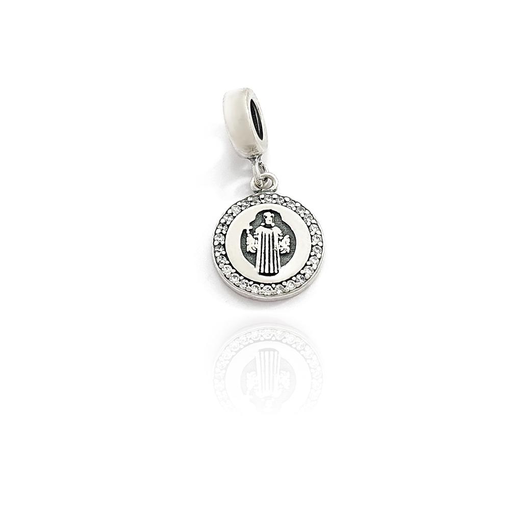 Berloque Medalha Redonda São Bento Cravejado Zircônia em Prata 925 - 403029P