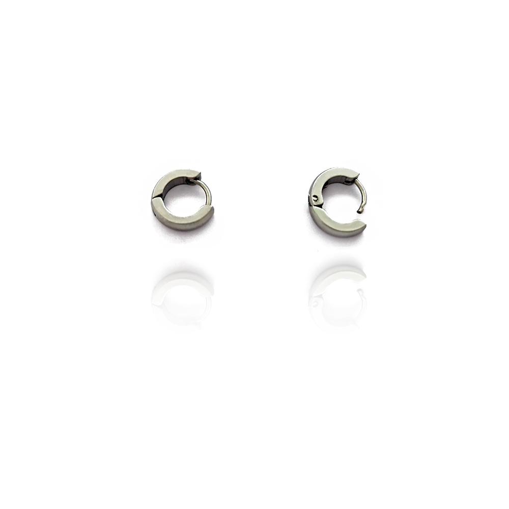 Brinco Argola Masculina cor Prata com 1.0cm em Aço Inox - 602010AI