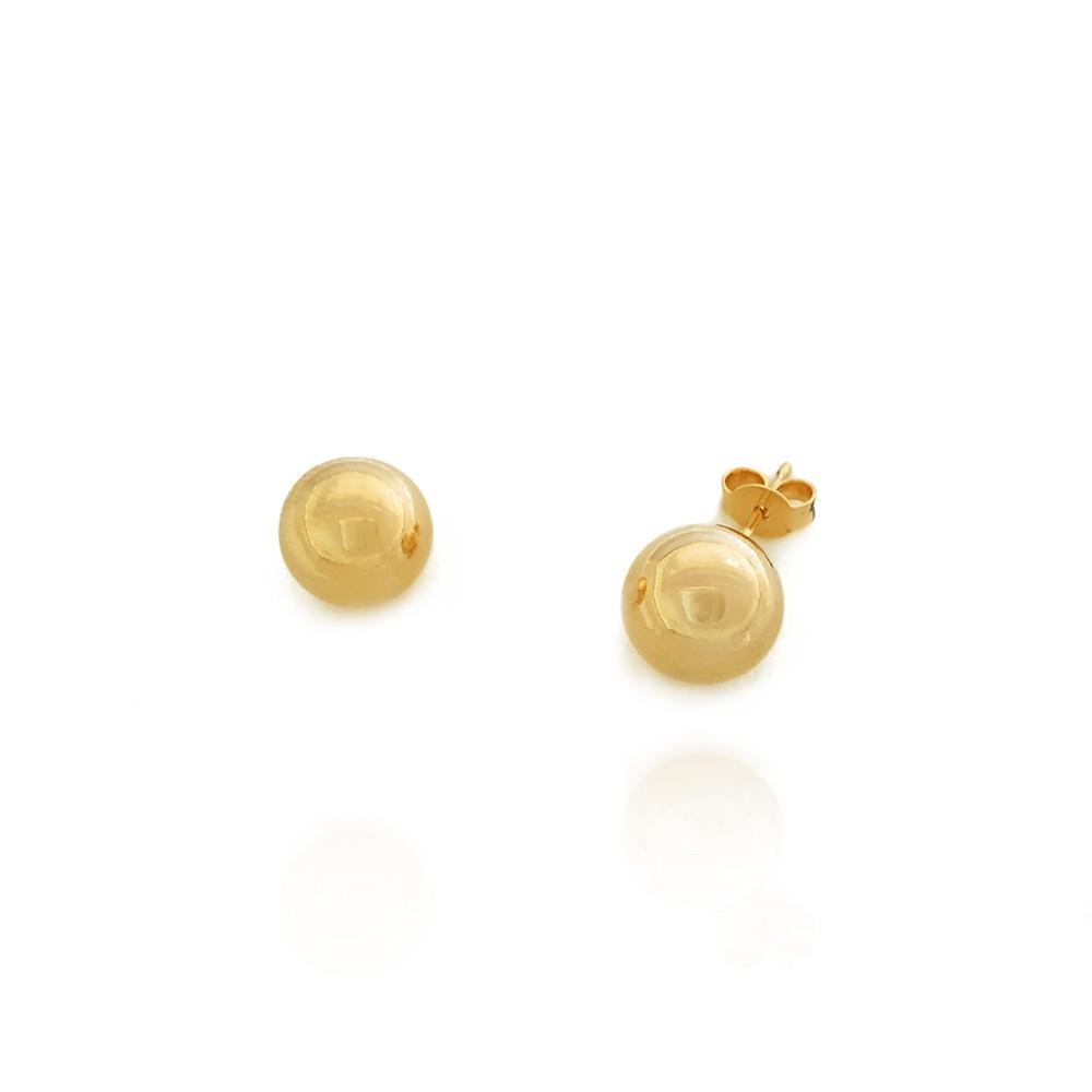 Brinco Bola Liso de 1 cm Grande Dourado  Semijoias - 8020273A