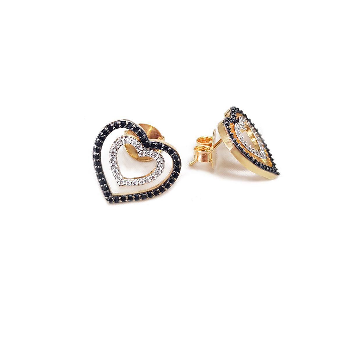 Brinco Coração Duplo com Zircônias Pretas e Brancas Semijoias - 8020173A
