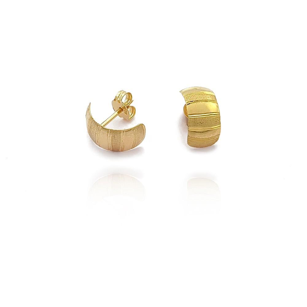 Brinco de Ouro 18k Feminino em Chapa com Frisos Lisos e Diamantado - 702041K