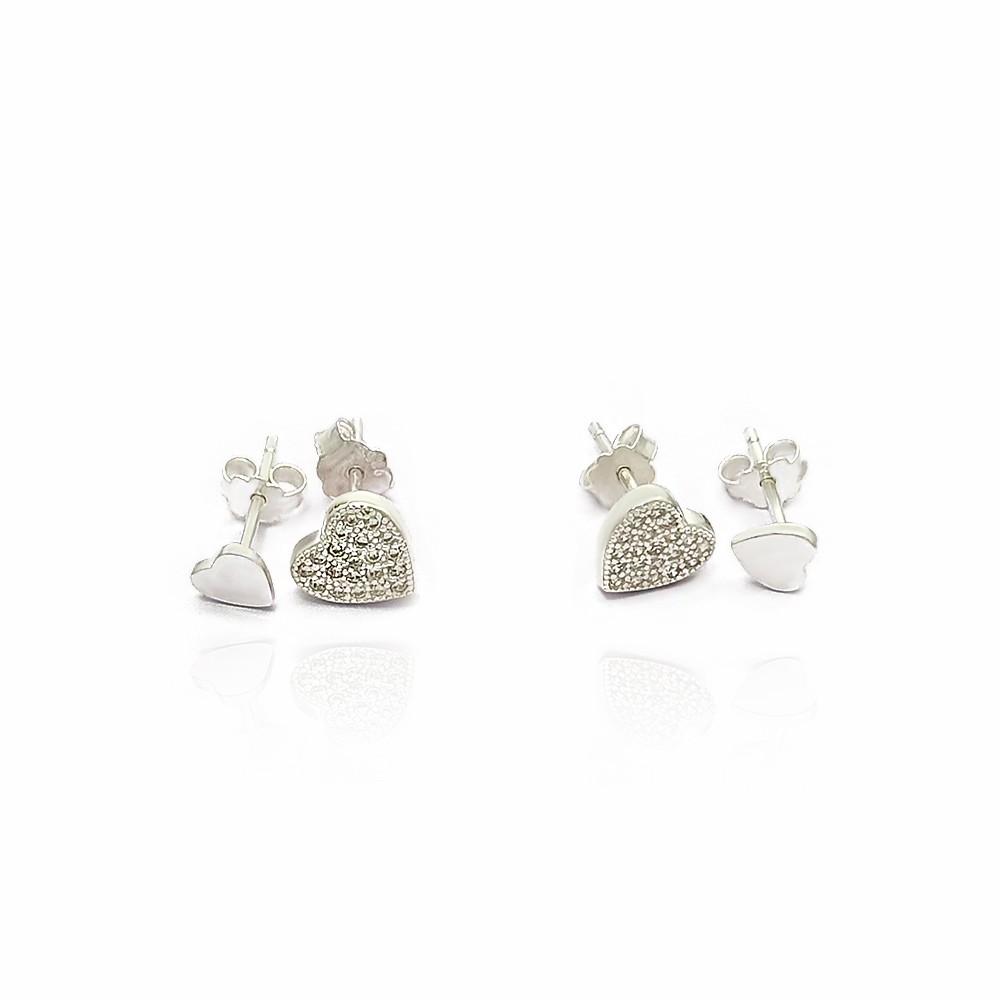 Brinco Duo com Coração Zircônias e Coração Liso Prata 925 - 402002P