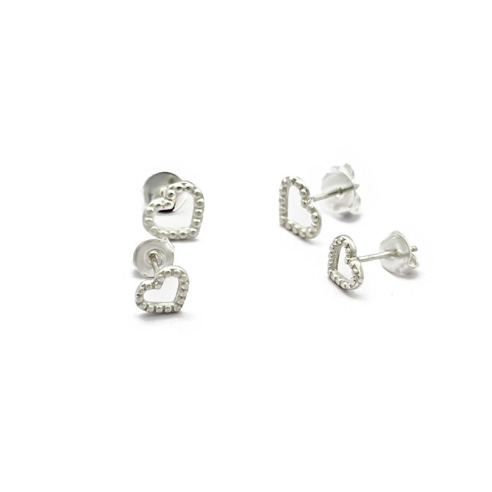Brinco Duo Prata 925 Coração com Detalhes em Bolinhas - 402034P