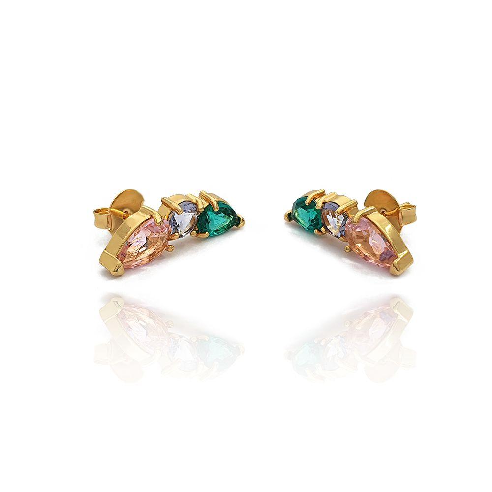 Brinco Ear Cuff com 3 Pedras de Zircônia Colorida Semijoias - 802028A