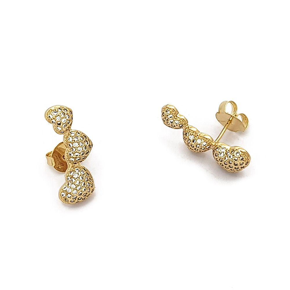 Brinco Ear Cuff de Corações Cravejados com Zircônias Semijoias - 8020739A