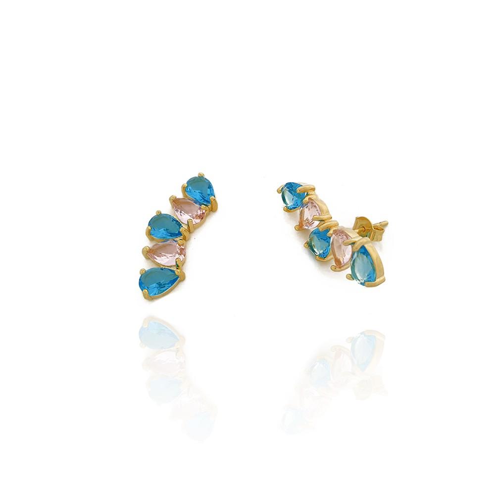 Brinco Feminino Ear Cuff com Zircônias Azuis e Rosas Semijoias - 8020275A