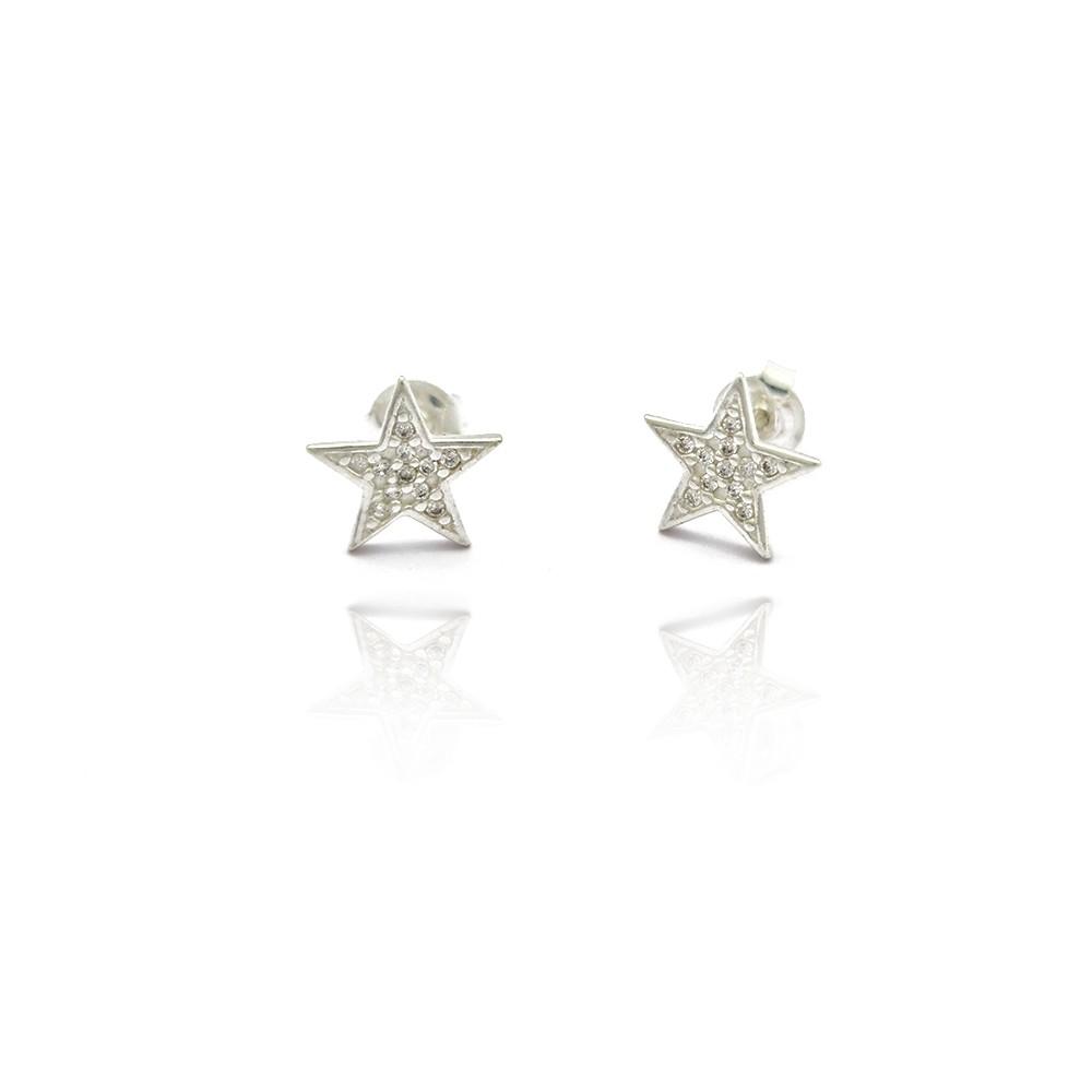 Brinco Pequeno Estrela com Micro Zircônias Prata 925 - 402037P