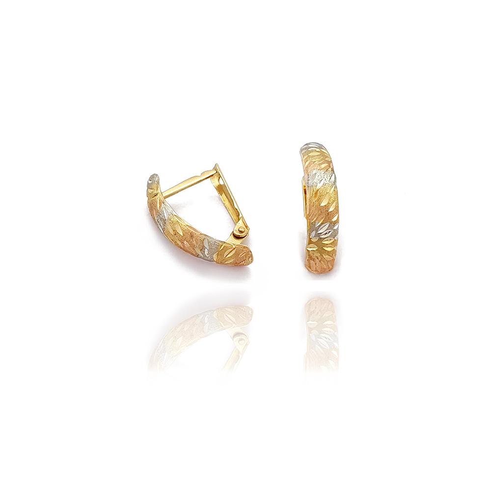 Brinco Pino 3 Ouros Detalhes Chanfrados em Ouro 18K - 702051K