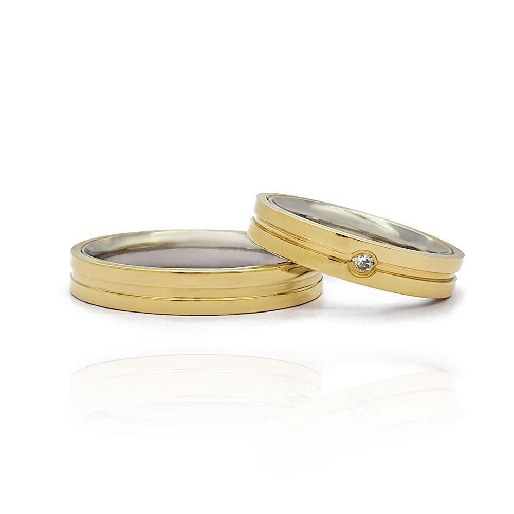Casamento - Par de Aliança 4mm Reta Anatômica com Friso Central - Moeda e Aço Inox