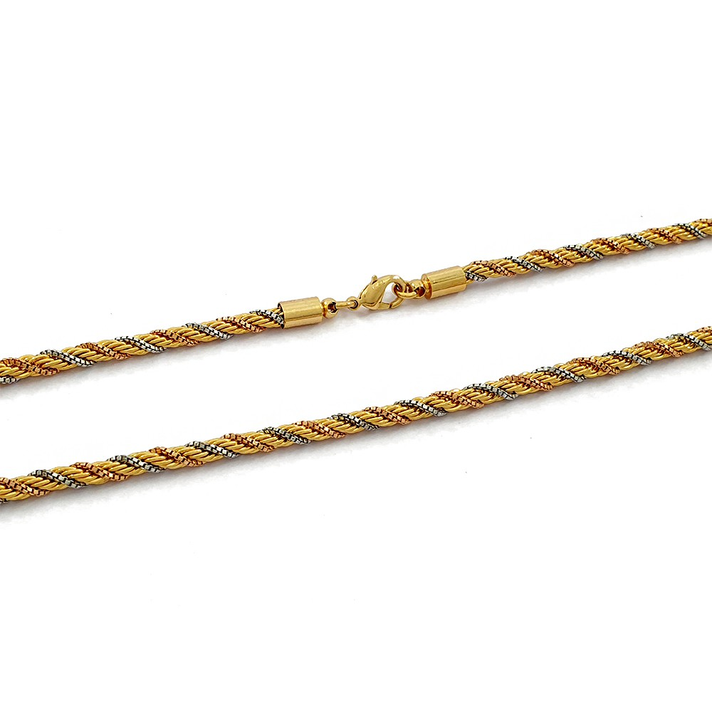 Corrente Cordão Baiano com 3 Fios nas 3 Cores do Ouro Semijoias - 809076A
