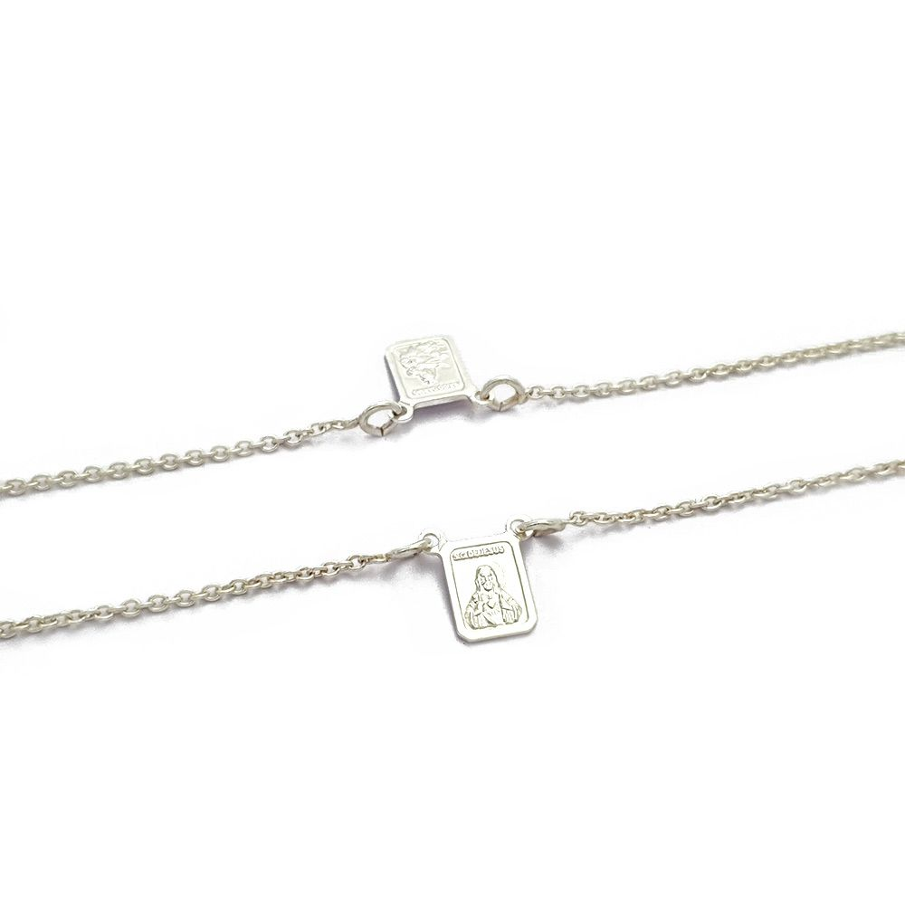 Corrente Escapulário Prata 925 Cartier com Sagrado Coração de Jesus Pequeno - 8090272P