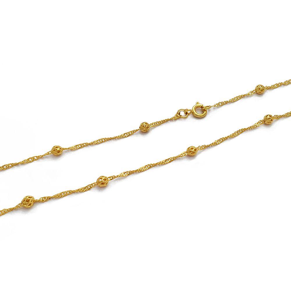 Corrente Feminina 50 cm com Bolinhas Vazadas e Malha Singapura Semijoias - 8090250A