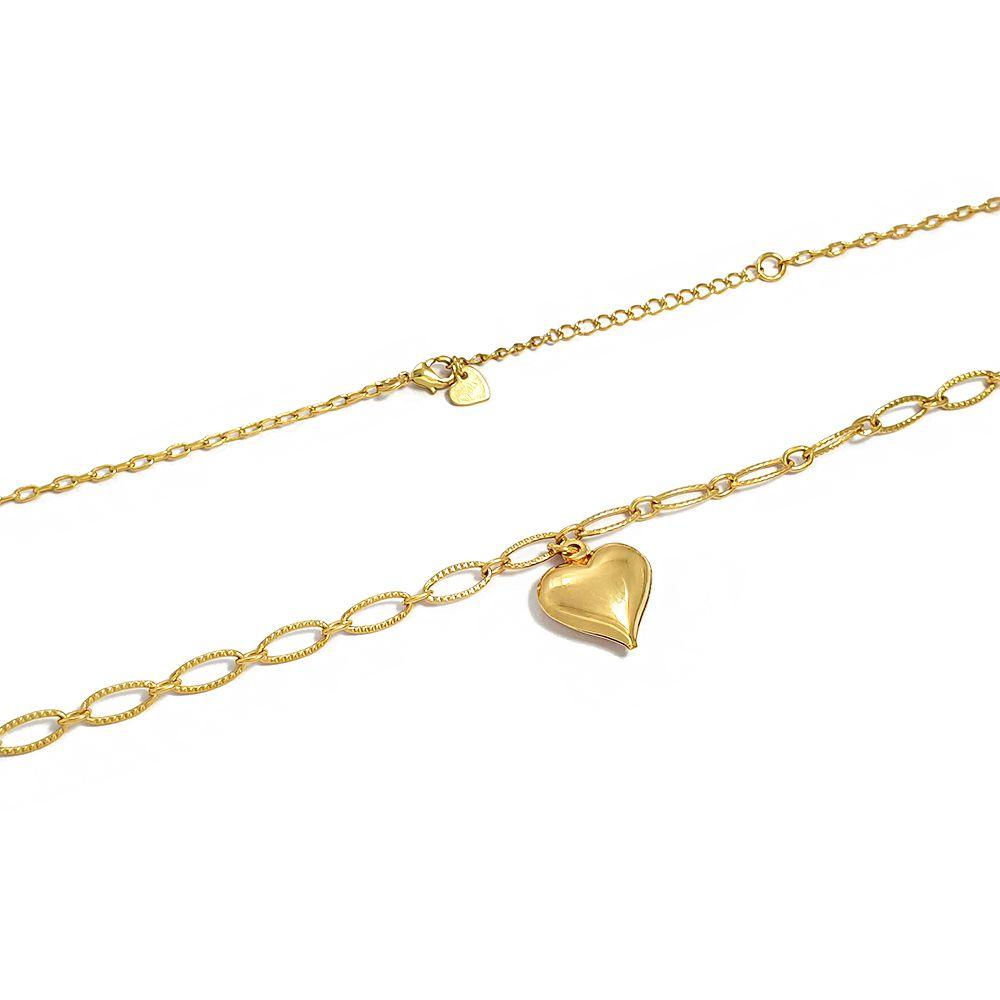 Corrente Feminina Elos Diamantados Ovais e Pingente Coração Liso 50 cm - Semijoias