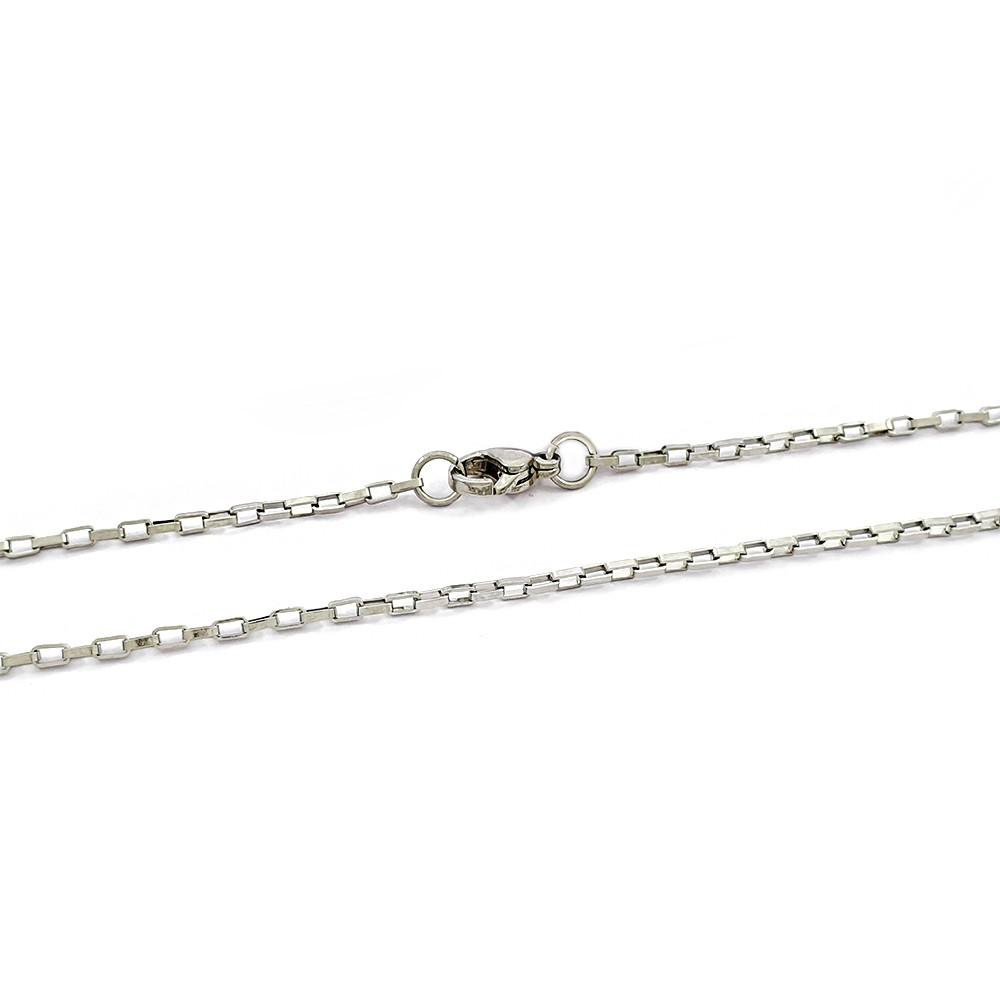 Corrente Masculina Cartier 55 cm Aço Inox Elo Retangular Pequeno - 609003AI