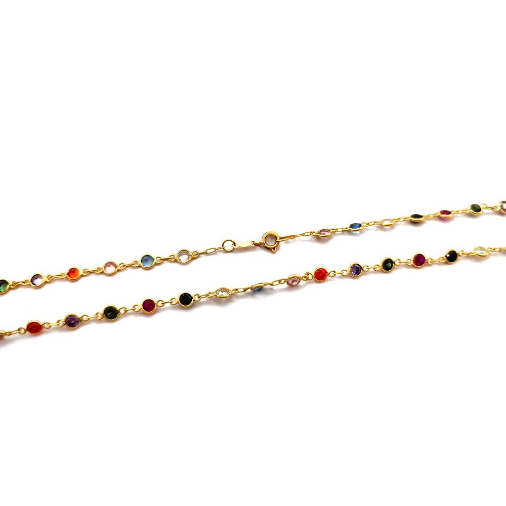Corrente Saladinha Redonda com Cores Fortes em Ouro 18K Feminina - 709013k