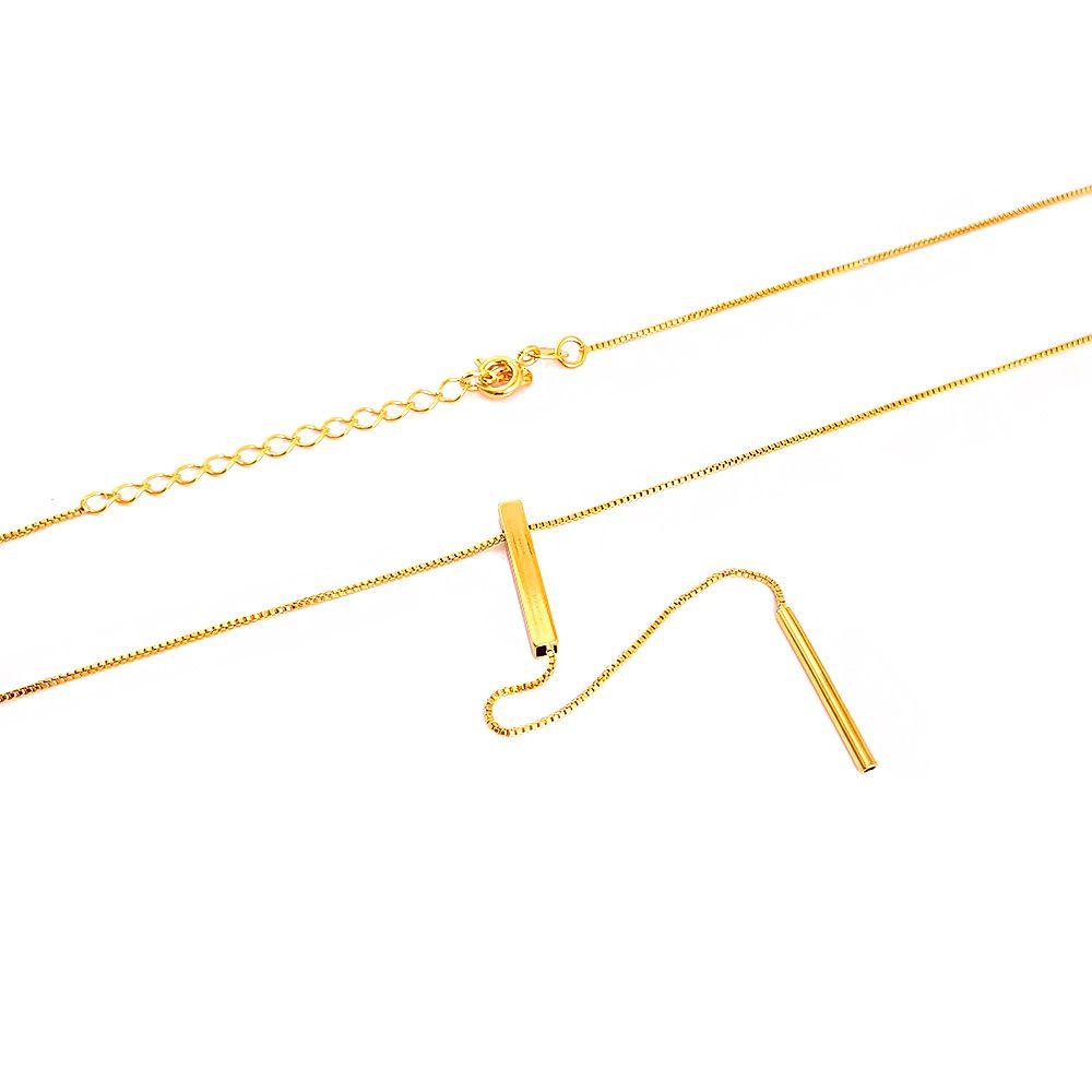 Corrente Veneziana com 45 cm e Pingente de Pino Duplo - Semijoia
