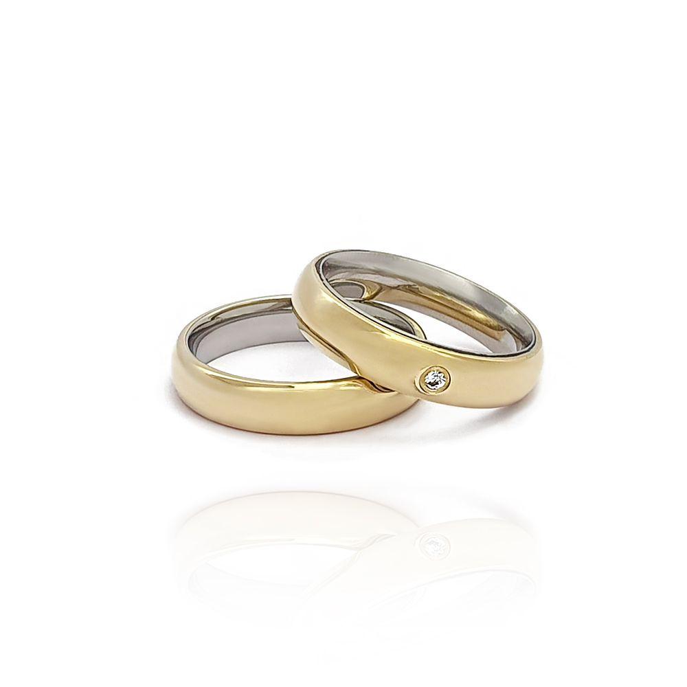 Casamento - Par de Aliança 5mm Abaulada Anatômica Moeda e Aço Inox