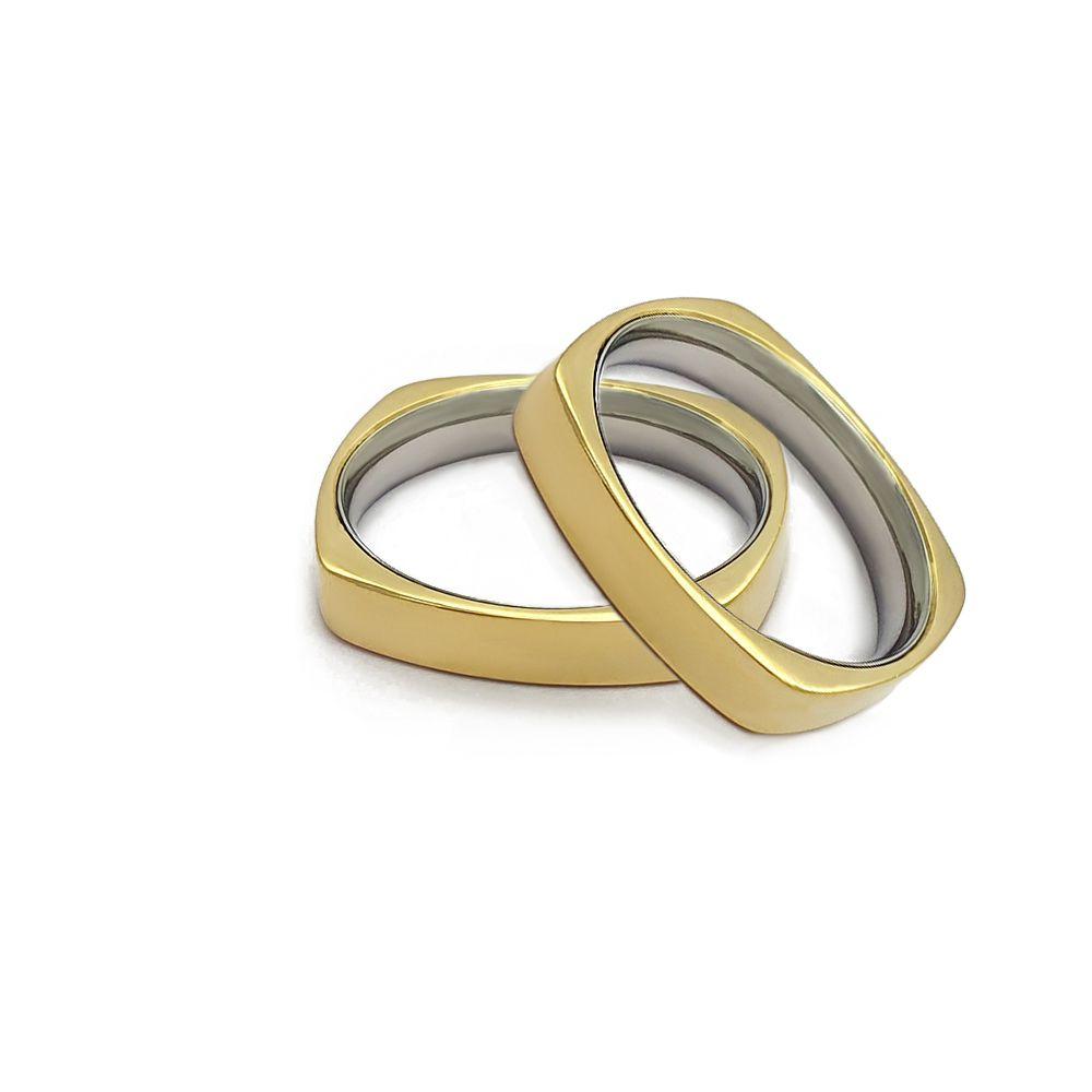 Casamento - Par de Aliança 4mm Reta Anatômica Quadrada - Moeda e Aço Inox