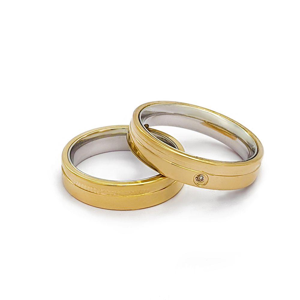 Casamento - Par de Aliança 5mm Reta Anatômica com Friso Lateral e Zircônia - Moeda e Aço Inox