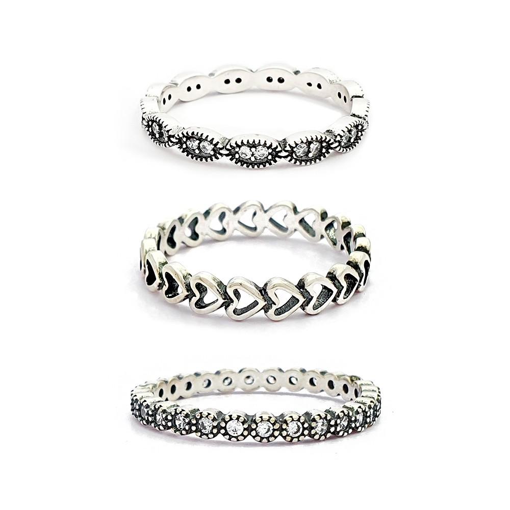 Kit de Anéis de Prata 925 Feminino Trio com Zircônia Coração Vazado