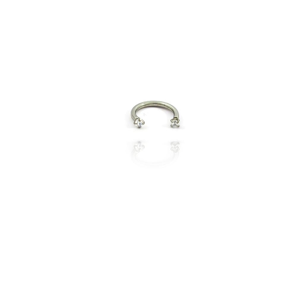 Piercing Argola com Zircônias nas Pontas em Aço Inox - 607020AI