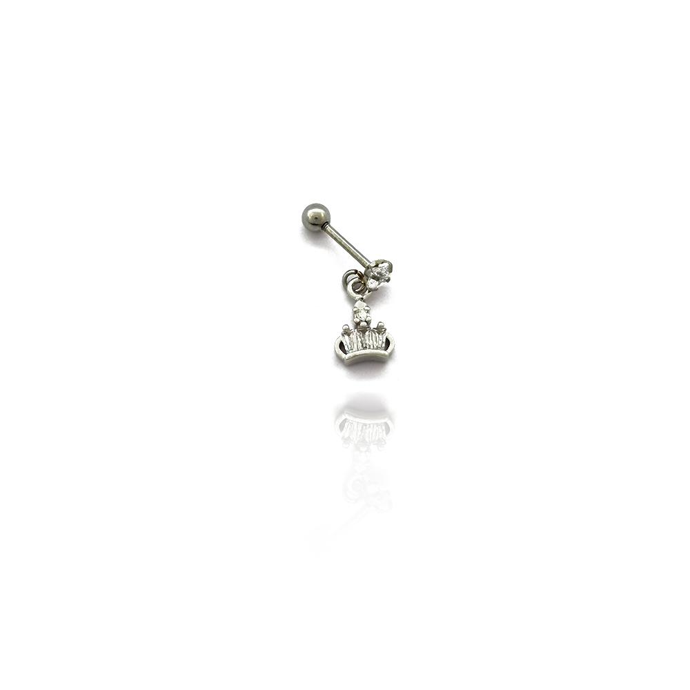 Piercing com Coroa Pendurada com Zircônias em Aço Inox - 607021AI
