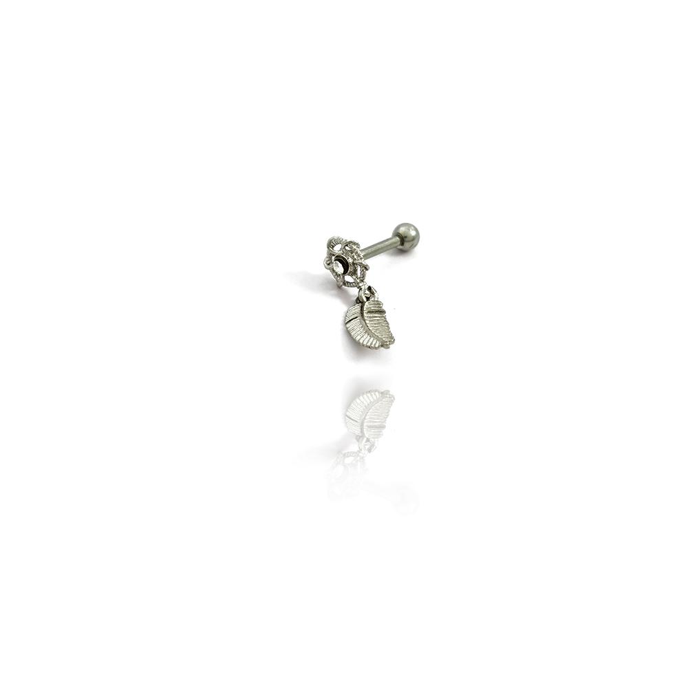 Piercing com Pena Pendurada em Aço Inox - 607014AI
