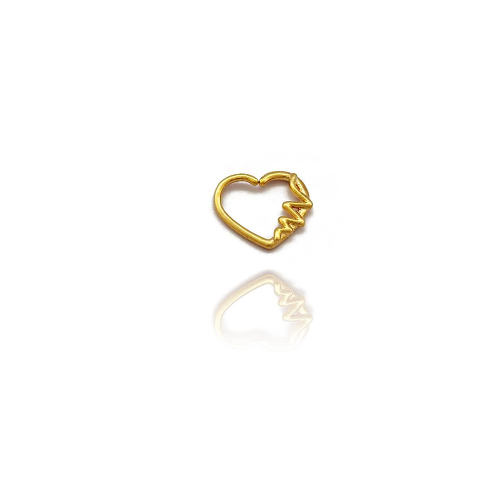 Piercing Coração com Frequência Cardíaca em Aço Inox - 607011AI