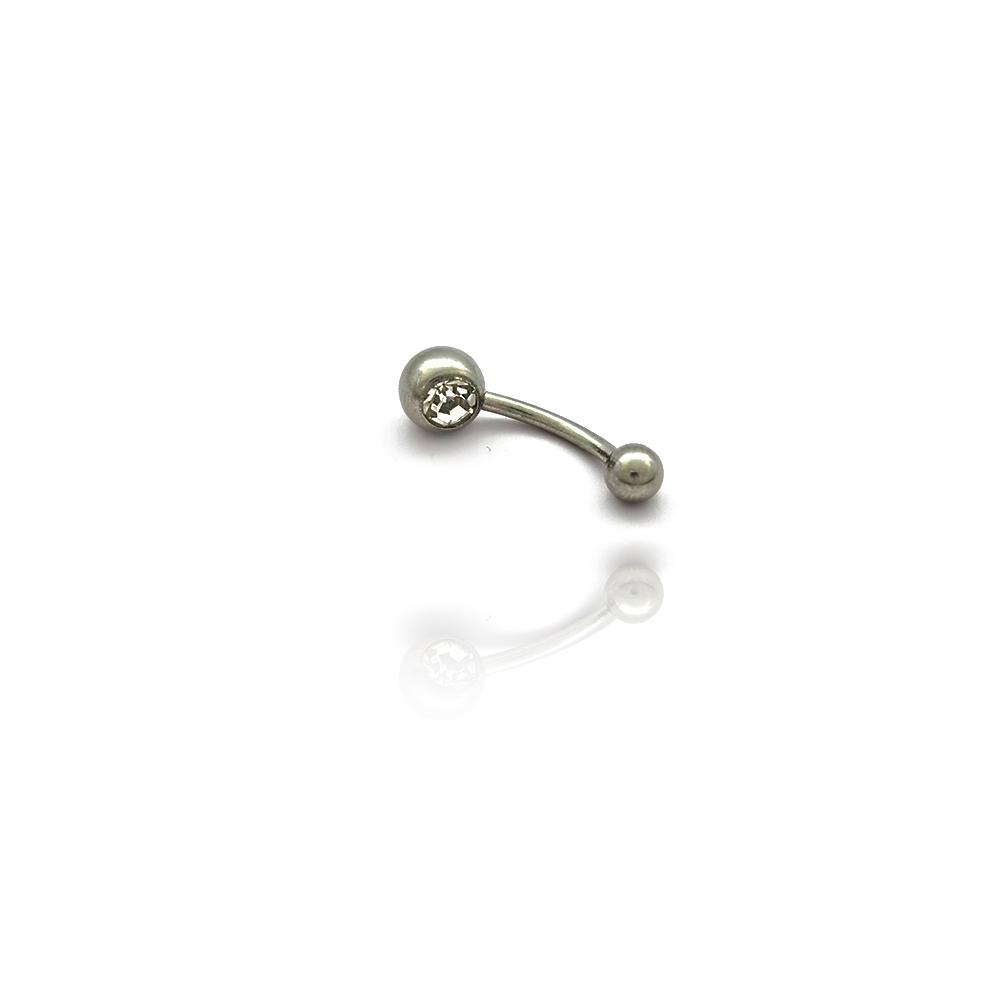 Piercing de Umbigo com Bolinhas nas Pontas em Aço Inox - 607018AI
