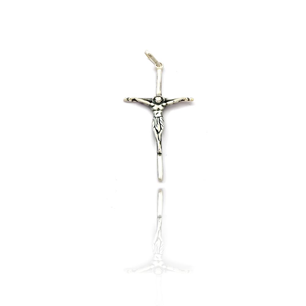 Pingente Crucifixo com Jesus em Alto Relevo em Prata 925 - 403044P