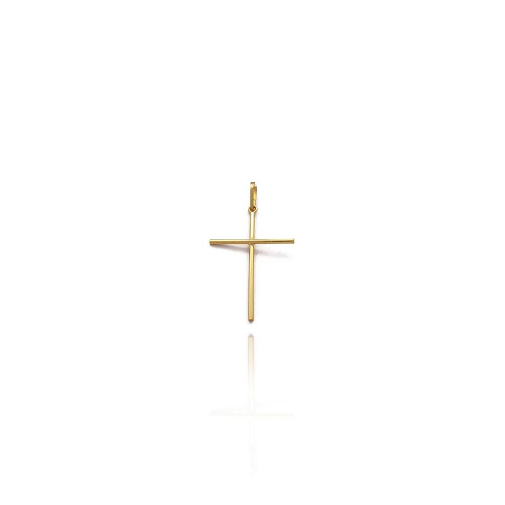Pingente Crucifixo de Ouro 18K Masculino Abaulado Liso com 2.6cm - 703017K