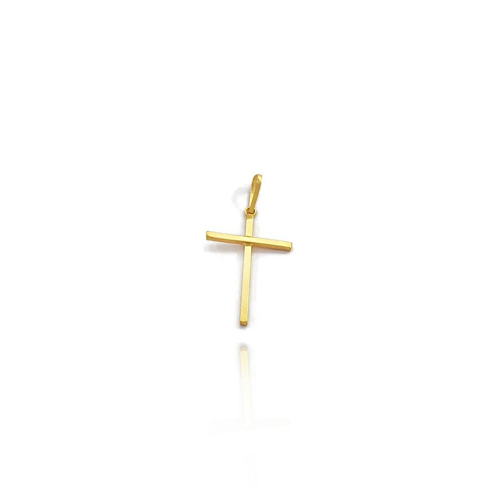 Pingente Crucifixo Liso de Ouro 18K Masculino Reto com 2cm - 703019K