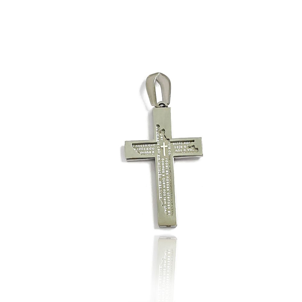Pingente Crucifixo Masculino com Dizeres Escritos - Aço Inox