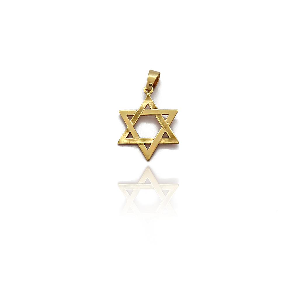 Pingente Estrela de Davi Vazada Lisa e Frisada em Semijóia - 8030463A