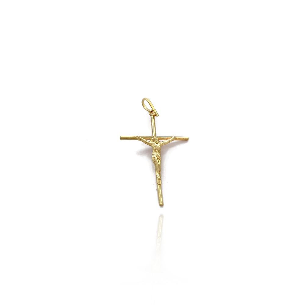 Pingente Masculino Crucifixo em Ouro 18K Abaulado com Imagem de Jesus 2.6cm - 703016K